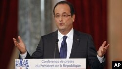 法国总统奥朗德11月13号在记者会上讲话