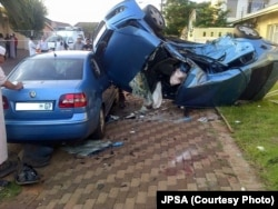 A high-speed collision in a South African suburb leaves wreckage. Many motorists don't stick to the 60 km an hour urban speed limit. (Photo courtesy JPSA)
