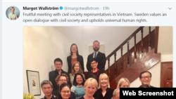 Trang Twitter của Ngoại Trưởng Thụy Điển Margot Wallstroms nói về nhân quyền Việt Nam, 24/11/2017.
