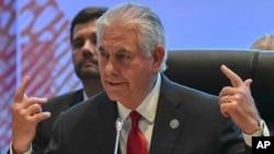 美国国务卿蒂勒森在菲律宾首都马尼拉出席东盟区域论坛系列会议(2017年8月6日)。