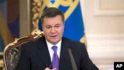 FILE - Ukrainian President Viktor Yanukovych speaks during a press conference in Kyiv.
