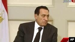 Rais wa Misri Hosni Mubarak akiwa kwenye mkutano mjini Cairo, Jan 30, 2011