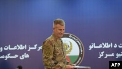 FILE - US Army General John Nicholson arrives ahead of a joint press conference in Kabul, Nov. 20, 2017.
