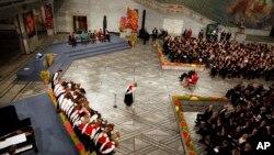2010年诺贝尔和平奖颁奖典礼现场,主席台上的空椅子是留给刘晓波的(2010年12月10日)