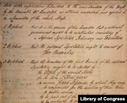 Page from James Madison's Virginia Plan