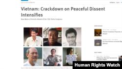 Tổ chức Theo dõi Nhân quyền (HRW) lên tiếng tố cáo Việt Nam gia tăng đàn áp những những người bất đồng chính kiến trước thềm đại hội Đảng 13. Photo HRW