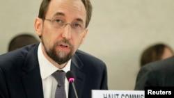 제이드 알 후세인 신임 유엔 인권최고대표가 8일 스위스 제네바에서 열린 유엔 인권이사회에서 개막연설을 하고 있다.