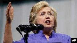 Hillary Clinton berbicara dalam sebuah acara kampanye di Scranton, Pennsylvania (15/8).