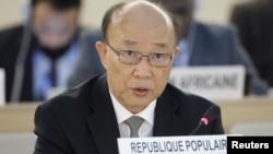 서세평 제네바 주재 북한대표부 대사가 지난해 9월 유엔인권이사회 회의에서 발언하고 있다. (자료사진)