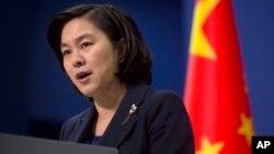 중국 외교부 화춘잉 대변인이 지난 6일 정례브리핑에서 북한의 4차 핵실험을 비난하는 성명을 발표하고 있다.