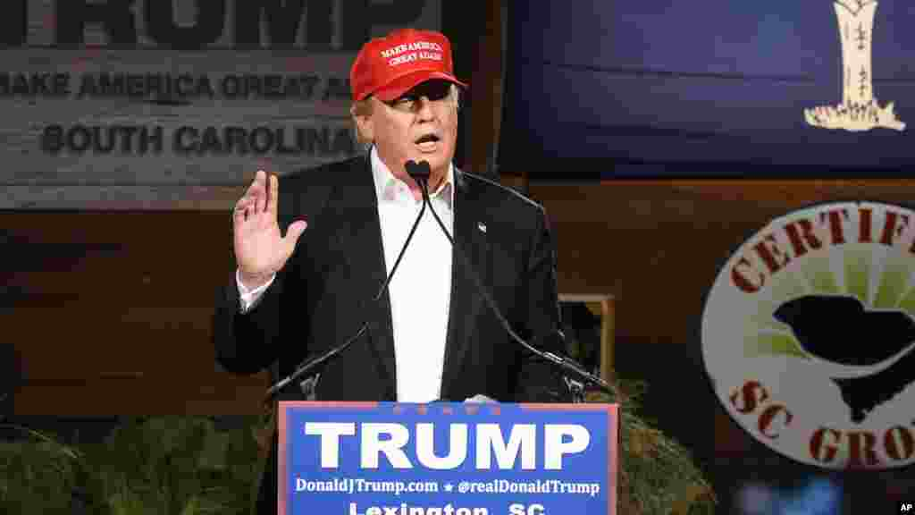 Republican presidential candidate Donald Trump speaks during a campaign stop, Jan. 27, 2016, in Gilbert, S.C.