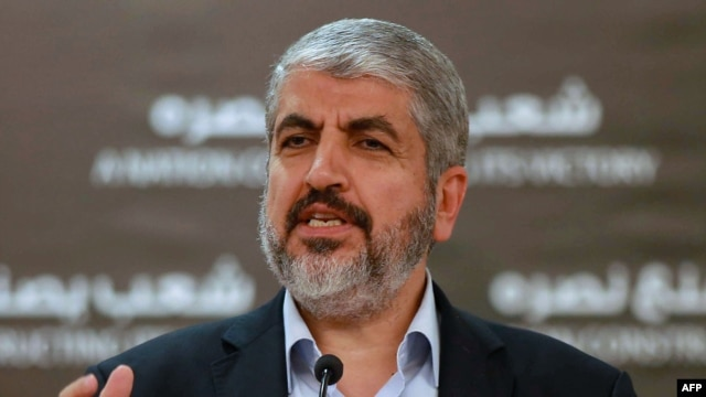 Hamas chief Khaled Meshaal holds a press conference in the Qatari capital Doha, Aug. 28, 2014.