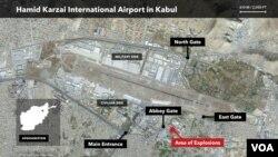 ქაბულის აეროპორტის რუქა და ორი აფეთქების ადგილი, 26 აგვისტო, 2021