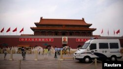 An ninh được siết chặt tại Quảng trường Thiên An Môn, ngày 4/6/2014.