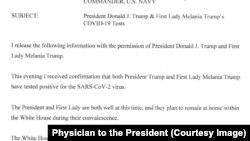 Memorandum from Physician to the President Sean Conley stating positive COVID-19 tests of the U.S. President Donald Trump and the First Lady Melania Trump