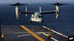 Pemerintah Jepang telah mengijinkan AS untuk mengoperasikan pesawat Osprey MV-22 dari pangkalan marinir AS di pulau Okinawa (Foto: dok).