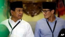 Calon presiden Prabowo Subianto dan Cawapres Sandiaga Uno (foto: dok).