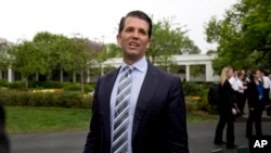 FILE - Donald Trump Jr., the son of President Donald Trump, speaks to media.