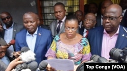 Vital Kamerhe de l'UNC, Eve Bazaiba du MLC et Felix Tshiseki de l'UDPS à Kinshasa, le 15 mars 2018. (VOA/Top Congo FM)