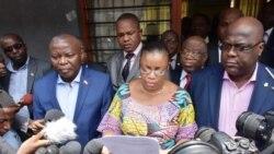 Déclaration de l'UDPS, de l'UNC et du MCL lue par Mme Bazaiba