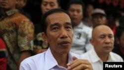处于领先地位的印尼总统候选人维多多5月16日参加竞选活动