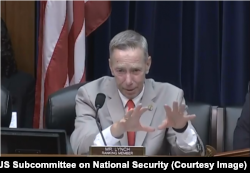U.S. Democratic Congressman Stephen Lynch speaks at a July 17, 2018, House national security subcommittee hearing about his skepticism toward a U.S. recognition of Israel's annexation of the Golan Heights.