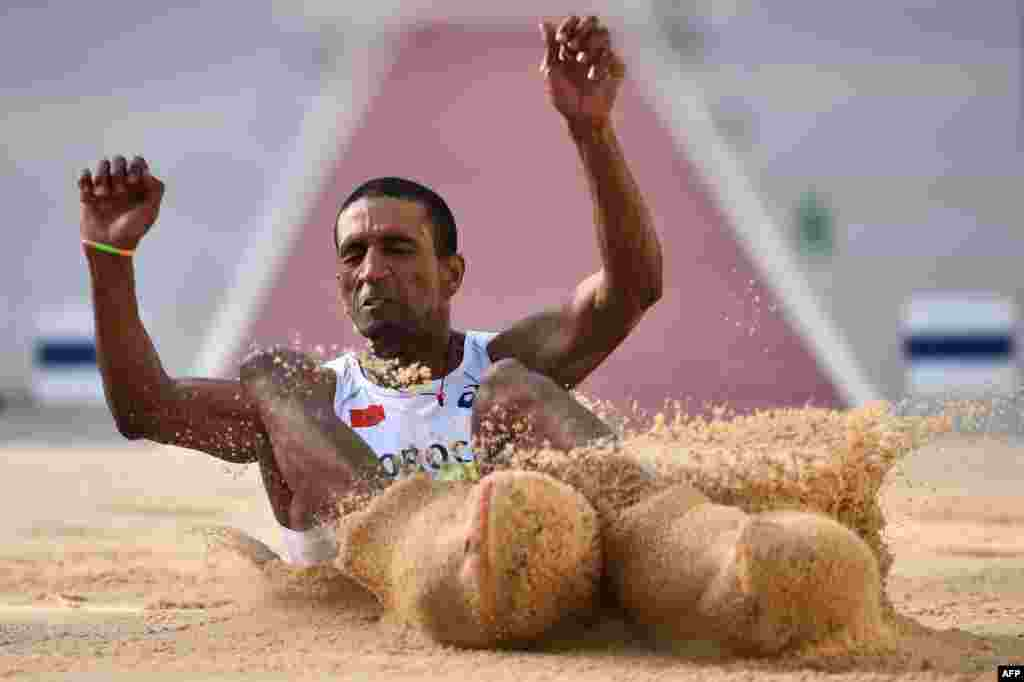 Morocco's Yahya Berrabah competes during the Men's Long Jump of the Athletics events at the Baku 2017 4th Islamic Solidarity Games at the Olympic Stadium in Baku.