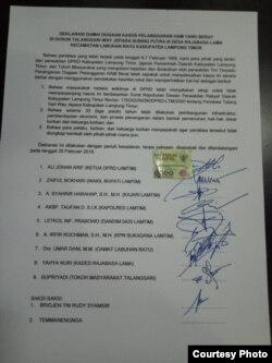 "Dokumen perjanjian ""Deklarasi Damai"" peristiwa Talangsari. (Foto: Amnesty International Indonesia)"