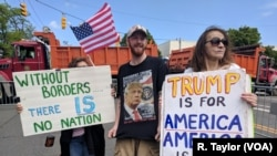 Some Long Island-based supporters of President Trump gathered near Morrely Homeland Security Center in Bethpage on Wednesday, where the president held a roundtable discussion on the MS-13 gang.