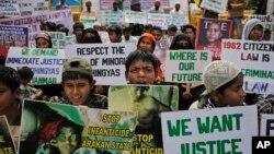 Người Rohingya tị nạn ở Ấn Độ biểu tình tại New Delhi yêu cầu chấm dứt bạo lực sắc tộc ở bang Rakhine của Myanmar, 11/3/2015.