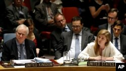 Duta Besar AS untuk PBB, Samantha Power (kanan) dalam sidang Dewan Keamanan PBB, Desember 2014.