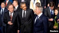 Prezidentlar Obama va Nazarboyev hamda BMT Bosh kotibi Pan Gi Mun, 25-mart, Gaaga