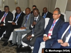 Patrick Kormawa, the coordinator for the FAO in Southern Africa, addresses a regional meeting in Harare, Zimbabwe, Sept. 5, 2018.