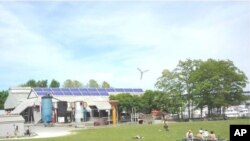 Proposed solar installation and wind turbine at Gas Works Park in Seattle.