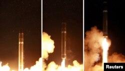 북한이 29일 새벽에 실시한 신형 대륙간탄도미사일 '화성-15형' 발사 모습을 관영 조선중앙통신을 통해 공개했다.