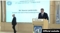 Geneva ၿမိဳ႕မွာက်င္းပေနတဲ့ လူ႔အခြင့္အေရးေကာင္စီ ႏွစ္ပါတ္လည္စည္းေဝးပဲြမွာ EU ဥေရာပသမဂၢရဲ႕ လူ႔အခြင့္အေရးဆိုင္ရာ အထူးကိုယ္စားလွယ္ Mr. Stavros Lambrinidis မိန္႔ခြန္းေျပာစဥ္။