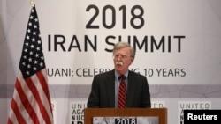 Penasihat Keamanan Nasional AS John Bolton menyampaikan sambutan dalam sesi pertemuan mengenai nuklir Iran di sidang Majelis Umum PBB di New York, 25 September 2018. (Foto: dok).