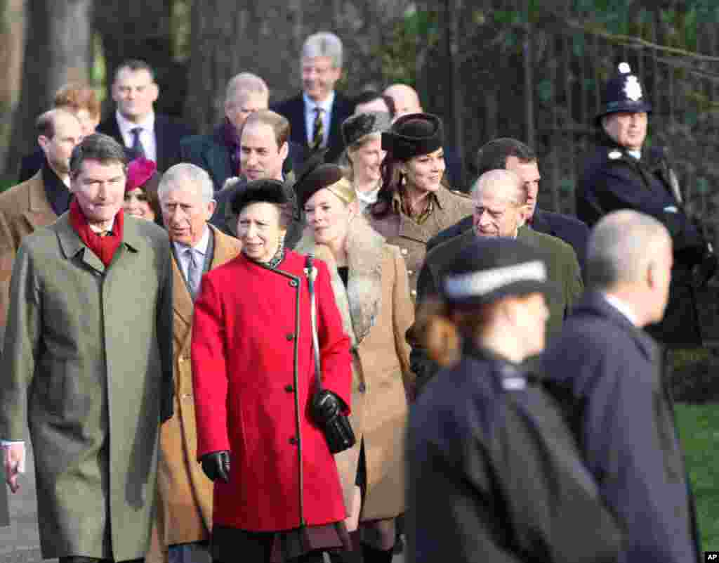 Members of the British royal family including Prince William The Duke of Cambridge, Kate Middleton Catherine The Duchess of Cambridge, Prince Harry, Charles Prince of Wales, The Duke of Edinburgh and Princess Anne attend the Christmas Day church service on the royal estate of Sandringham.