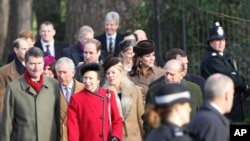 Members of The Royal Family including Prince William The Duke of Cambridge, Kate Middleton Catherine The Duchess of Cambridge, Prince Harry, Charles Prince of Wales, The Duke of Edinburgh and Princess Anne attend the Christmas Day church service on the royal estate of Sandringham.