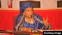 FIleLiberian President Ellen Johnson Sirleaf speaks at an education conference.