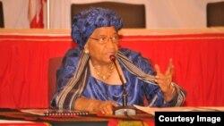 FIleLiberian President Ellen Johnson Sirleaf speaks at an education conference.