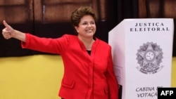 Bà Dilma Rousseff, ứng cử viên của đảng đương quyền đang dẫn đầu trong cuộc bầu cử