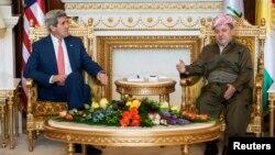 Keri u razgovoru sa predsednikom regionalne kurdistanske vlade Masudom Barzanijem u Irbilu