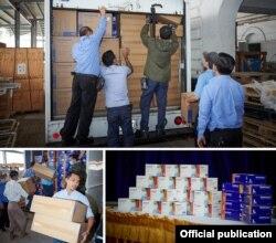 က်န္းမာေရးႏွင့္အားကစားဝန္ႀကီးဌာနသို႔ ႏွာေခါင္းစည္းႏွင့္ လက္အိတ္မ်ားေပးအပ္လႉဒါန္းတဲ့ ျမင္ကြင္း။ (ဓာတ္ပံု - U.S. Embassy Rangoon- ဇူလိုင္ ၂၉၊ ၂၀၂၀)