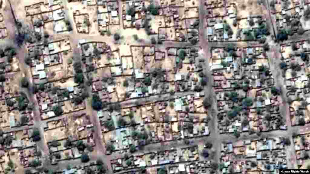 Pre-violence view of concentration of building damages in Baga (view 1)
