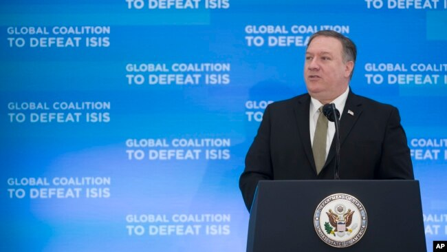Secretary of State Mike Pompeo gives opening remarks during the Global Coalition to Defeat ISIS meeting, at the State Department in Washington, Feb. 6, 2019.