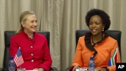 U.S. Secretary of State Hillary Rodham Clinton meets with South Africa's Foreign Minister Maite Nkoana-Mashabane in Pretoria, South Africa, August 7, 2012.