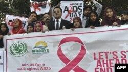 Journée mondiale contre le Sida à Lahore au Pakistan le 1er décembre 2016.