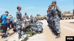 2015年夏季到俄羅斯參加軍事比賽的中國軍人。(美國之音白樺拍攝)
