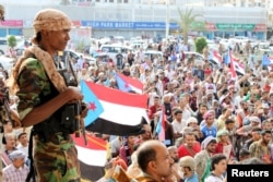 Supporters of the southern Yemeni separatists demonstrate against the government in Aden, Yemen Jan. 28, 2018.